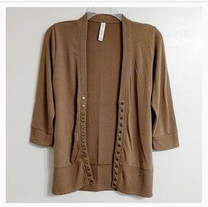 Zenana Outfitters Mocha Brown Snap Cardigan S